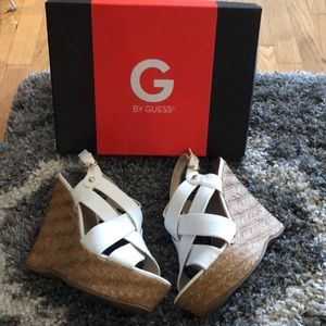 Guess White Wedge Heels